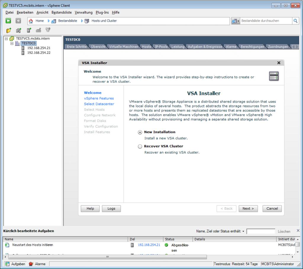 Der Startbildschirm des VSA Installers